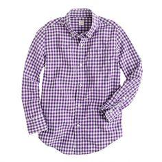 Boys' Secret Wash shirt in gingham/ in baltic blue not purple