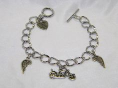 Stainless Steel Charm Bracelet With by CreationsbyDreamLady, $10.00