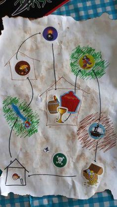 Piratenfeestje schatkaart met opdrachten: zwaardspel (ballonnen naar binnen slaan) schatkist knutselen. Kanonwerpen (met bal en toren wc papier) piet piraat spel en wat lekkers. 2 aanwijzingen om bij de schat te komen ( de zelfgemaakte schatkisten gevuld met nep munten en chocomunten, verstopt)