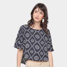 17a96cb1fd Blusa Lily Fashion Cropped Estampada Feminina - Preto