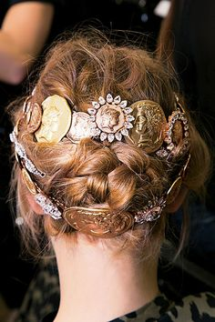 A braided updo with some extra bling.