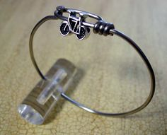 Bike spoke bracelet with bike charm