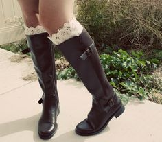 DIY lace top boot socks- super easy with a pair of socks, some lace, thread and a needle! Doing this for fall :)