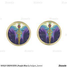 GOLD CADUCEUS ,Purple Blue Cufflinks