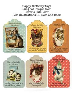 Gayle Perkins Herrera  I made birthday tags using cat images from the pets illustrations cd-rom and book.