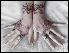 Cosette Lace Fingerless Gloves - Dusty Mauve Plum Embroidered Floral - Gothic Vampire Regency Tribal Bellydance Goth Fetish Mourning Tea. $34.00, via Etsy.