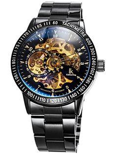 Alienwork IK Automatic Watch Self-winding Skeleton Mechanical Stainless Steel black black 98226-12