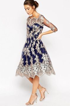 Shop Chi Chi London Premium Lace Midi Prom Dress With Bardot Neck Rosegoldnavy and more Women's Dresses from all the best online stores. Chi Chi, Lace Midi Dress, Dress Up, Evening Dresses, Formal Dresses, Formal Prom, Embellished Dress, Embroidered Lace, Floral Embroidery