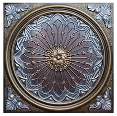 For use in a ceiling grid or direct mount Fine Art Deco collection tiles Our Fine Art Deco tiles come in a variety of designs and fit perfectly in all standard grid systems. Whether for businesses or Low Ceiling Basement, Ceiling Grid, Basement Stairs, Faux Tin Ceiling Tiles, Tin Tiles, Vitromosaico Ideas, Party Ideas, Art Deco Tiles, Rose Window