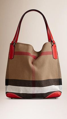 Cadmium red Medium Canvas Check Tote Bag - Image 1
