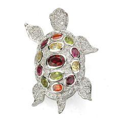 Multi Color CZ Turtle Pin CHELINE. $109.00. Save 41% Off!