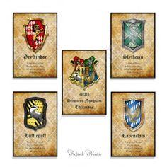 Harry Potter Hogwarts Crests Art Print, Set of 5 Prints