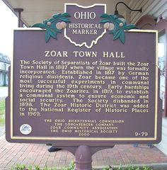 Zoar Ohio Map | Marker #9-79 Zoar Town Hall / Zoar and The Ohio Erie Canal