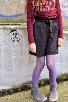 Paperbag Hose nähen für Mädchen, auch cool als Shorts Paperbag Hose, Skater Skirt, Shorts, Leather, Fashion, Dress Patterns Girls, Sewing For Kids, Princess, Trousers