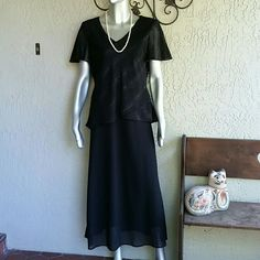 After 6pm Black Crepe Chiffon Sparkle Dress