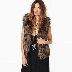 Stripe Pattern Classic Faux Fur Waistcoat, sleeveless, fur vest