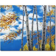 Big Aspen Sky - aspens and birches by Jennifer Vranes, painting by artist Jennifer Vranes