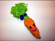 Rainbow Loom 3-D HAPPY CARROT. Designed and loomed by Ellen Carpenter at feelinspiffy. Click photo for YouTube tutorial. 06/30/14.