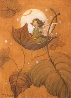 Autumn Leaf Fairy Signed 8.5x11 Print Illustration by brownieman, $11.50