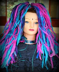 Wool Dreadfalls Candy Pinks and Blues by wickedharem on Etsy, $45.00