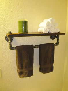 Towel Rack Pipe Shelf by vintagepipedreams on Etsy