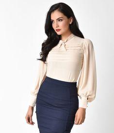 1930s- 1960s Style Cream Long Sleeve Blouse