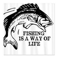 We Tees You : Fishing Is A Way Of Life Shower Curtain: Cool fishing shower curtains perfect for the anglers. A black drawing of a fish and the saying, Fishing Is A Way Of Life is perfect for those who love spending time on the lake. Bass Fishing Shirts, Bass Fishing Tips, Fishing Guide, Gone Fishing, Best Fishing, Fishing Boats, Walleye Fishing, Fishing Tackle, Fishing Quotes