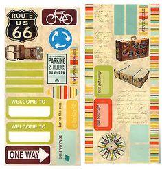 TRAVEL (2) Sticker Sheets scrapbooking (45) stickers Vacation Journey Getaway
