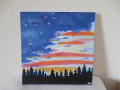 """Patriotic sunset. 11"""" x 14"""" original acrylic painting on stretched canvas. I have over 100 other paintings in my shop at:  https://www.etsy.com/shop/PaintingsbyPak"""