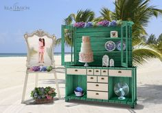 Shabby Chic inspired cake table - Beach wedding