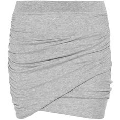 James Perse Ruched Stretch Cotton-Jersey Mini Skirt (710 DKK) ❤ liked on Polyvore featuring skirts, mini skirts, bottoms, saias, faldas, women, elastic waist mini skirt, jersey wrap skirt, short skirts and short mini skirts