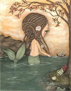 Mermaid Art Print Nautical Dread lock Girl Ship by thepoppytree, $18.00