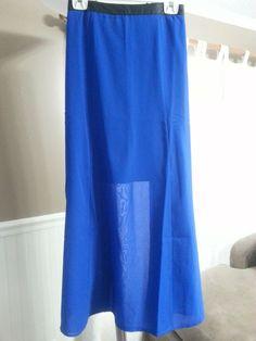 Womens Moda Sheer Blue Plus Size 3X Maxi Skirt W Faux Leather Trim NWT