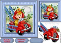 Fireman Sam In His fire engine on Craftsuprint - Add To Basket!