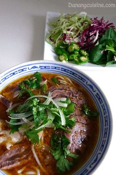 BUN BO HUE aka BUN BO ~~~ this beloved dish from the city of hue (famous for royal court cookery) is greatly admired for its balance of spicy, sour, salty and sweet flavors with the predominant flavor being that of lemon grass. the noodles are more thicker and cylindrical as compared to that of pho or bun. recipe gateway: this post's link + danangcuisine.com... + an heirloom share www.eattravellive... [Vietnam] [vanskitchen]