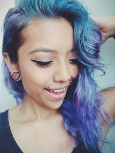 Blue purple mixed hair