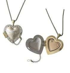 """Chamber Heart Locket"" Silver & Bronze Neckalce created by Thomas Mann on Artful Home"