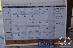 Completed Monthly Menu Planning Calendar on Magnetic Board | Burlap & Denim