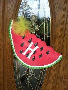 watermelon burlap door hanger by theburlapelephant on Etsy, $30.00