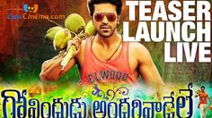 Ram Charan, Kajal Aggarwal starrer Govindudu Andarivadele film firstlook teaser launch live streaming online, Mega Star Chiranjeevi launches Ram Charan's Govindudu Andarivadele teaser