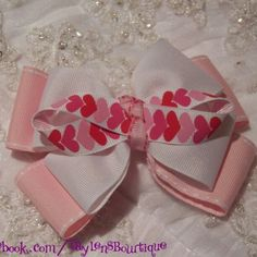 Valentine's Day Bow #TaylensBowtique #hairbows #hairbowsforsale #handmade   Www.facebook.com/Taylensbowtique - @taylensbowtique-