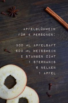 Recipe for mulled apple wine (with a dash of Calvados it becomes a delicious . - Recipe for mulled apple wine (with a dash of Calvados it becomes a delicious apple punch) - Punch Recipes, Tea Recipes, Apple Recipes, Winter Drinks, Winter Food, Uber Food, Yummy Drinks, Yummy Food, Apple Wine
