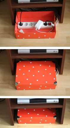 Don't let a mess of wires ruin a carefully decorated area. A cute box, like this polka-dot one, can be an adorable hiding spot for those not-so-adorable cords. Learn more at Simplette.   - Redbook.com