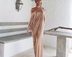 Viscose Maxi Dress / Beige Kaftan / Asymmetric by SynthiaCouture