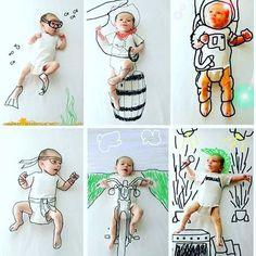 11 отметок «Нравится», 5 комментариев — Tiffany Stica (@tiffanystica) в Instagram: «Gente, apaixonada por essas fotos de bebezicos com desenho sobreposto! A criatividade de pais e…»