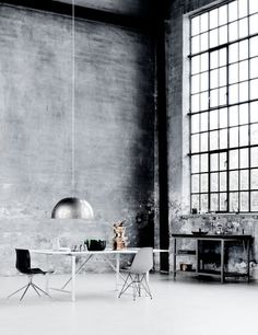 "I love the grandness and simplicity of this. I'm very attracted to the ""abandoned warehouse turned home"" thing."