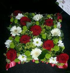 Funeral cushion Funeral Flower Arrangements, Funeral Flowers, Floral Arrangements, Sympathy Flowers, My Flower, Beautiful Flowers, Floral Wreath, Cushion, College