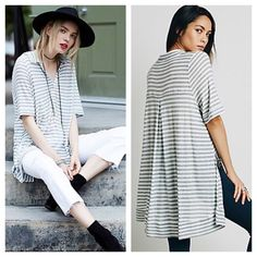 FREE PEOPLE Tee NWT Oversized and FABULOUS! NWT. SOLD OUT EVERYWHERE! Retail $78. Color is Grey. Free People Tops Tunics