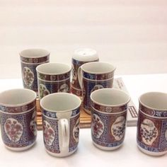 Vintage Set Of ASIAN IMARI INTERPUR COFFEE TEA CUPS -Mugs 8 In Mint Condition
