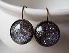 Galaxy earrings celestial jewelry nebula black universe space science via karmelidesigns